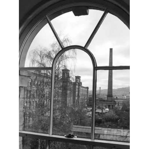 Salts Mill through the window