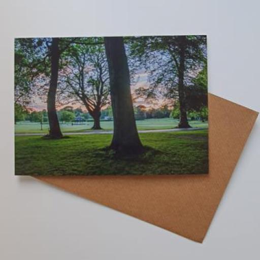 Horsforth Hall park sunset art card