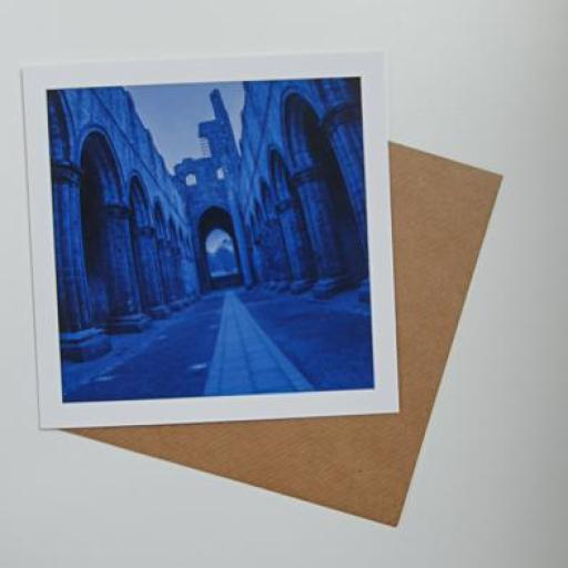 Kirkstall Abbey Blue 15cm square Art card