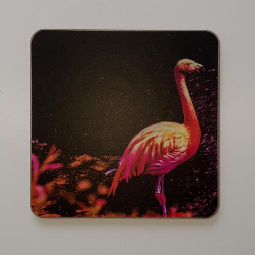 Flamingo black coaster