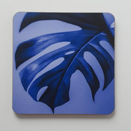 Monstera Blue art coaster