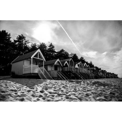 Wells Next the Sea beach huts Monochrome