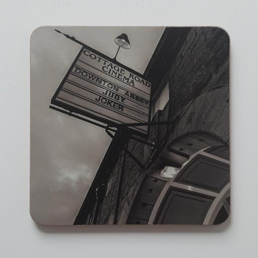 Cottage Road cinema sign Mono coaster