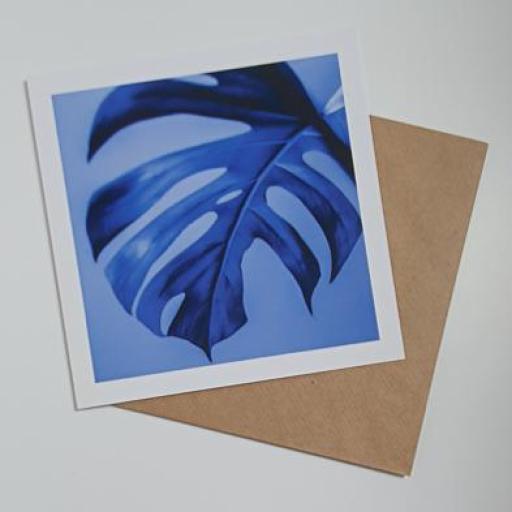 Monstera Plant Blue print art card
