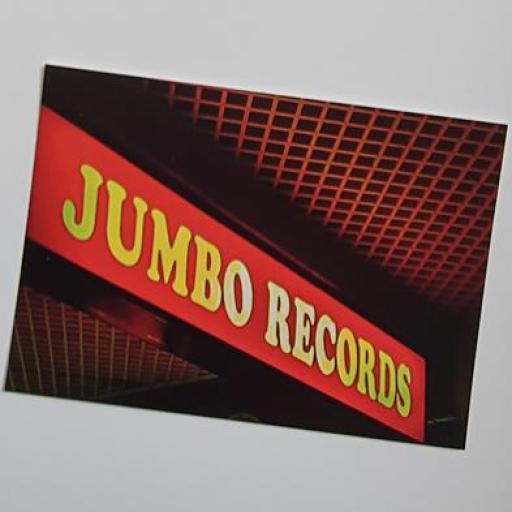Jumbo Records Sign postcard