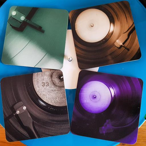 Vinyl coasters set of 4