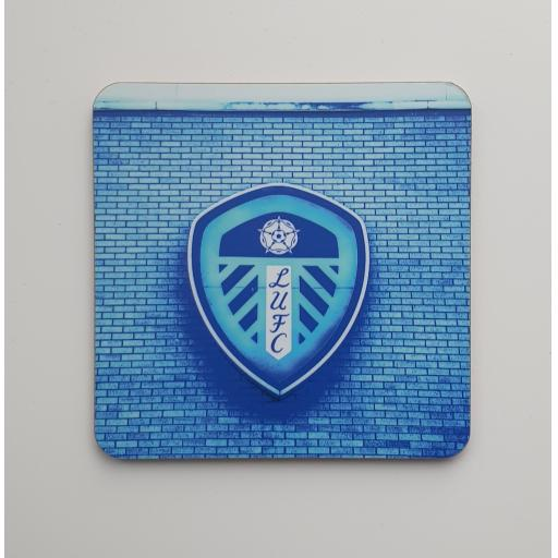 Lufc coaster 1 - Badge Blue coaster