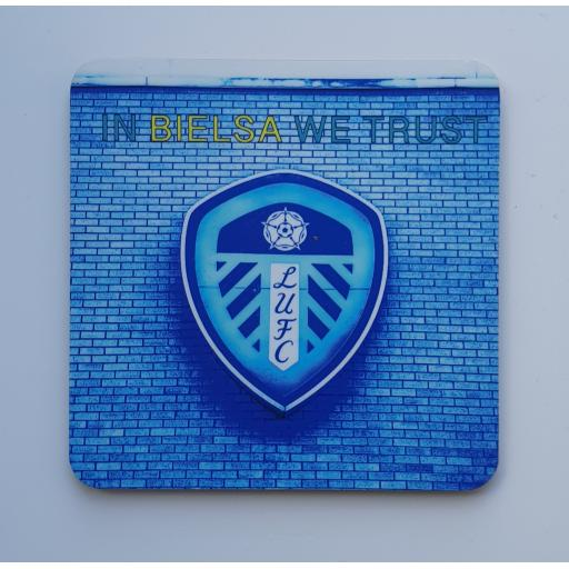 Lufc coaster 4 - In Bielsa We Trust - Badge Blue coaster