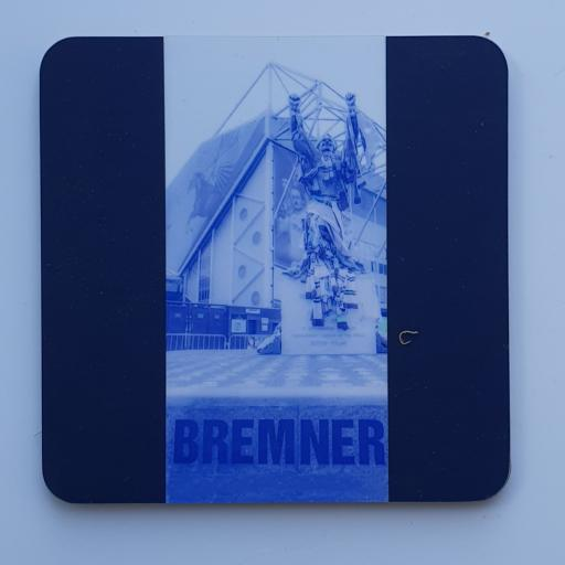 Lufc coaster 9 - Billy Bremner blue coaster